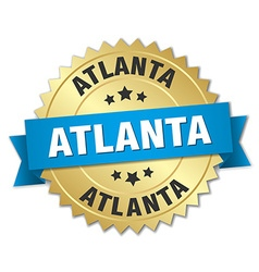 Atlanta round golden badge with blue ribbon vector