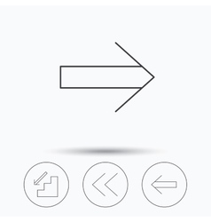 Arrows icons downstairs next linear signs vector