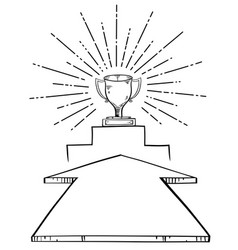 Arrow aim to trophy cup vector