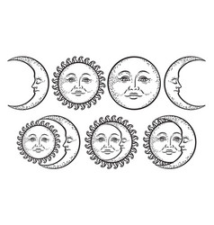 boho chic flash tattoo set sun and moon vector image