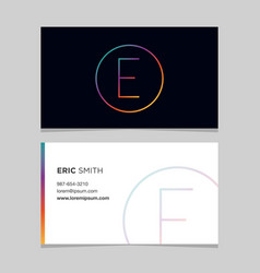 business-card-letter-e vector image vector image