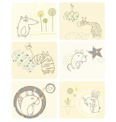 cartoon animals card vector image