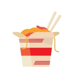 Chinese food take out box cartoon vector