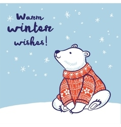 Christmas card of polar bear in red sweater vector image vector image
