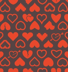 Different abstract heart icons seamless background vector image vector image