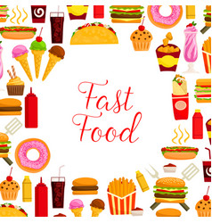 fast food restaurant lunch poster for menu design vector image vector image