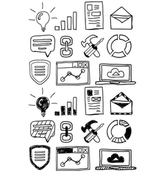 Hand drawn seo doodles icon set vector image