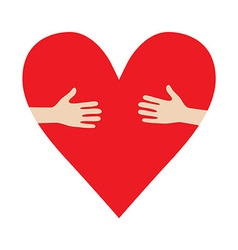 Heart In Hands hug donation encourage vector image vector image