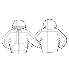 Hooded jacket with zipper closure vector