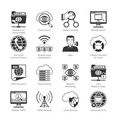Internet and network black icons vector