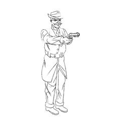 Isolated man cartoon with gun design vector