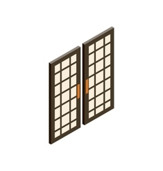 Japanese style doors icon isometric 3d style vector