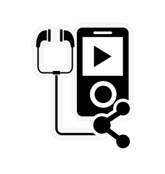 mp3 player and connection icon vector image