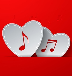 Notes cut in white paper hearts on red background vector