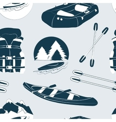 Rafting and kayaking icons collection pattern vector