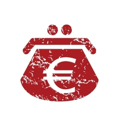 Red grunge euro purse logo vector