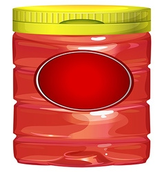 Red jar with yellow lid vector image vector image