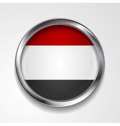 Republic of Yemen metal button flag vector image