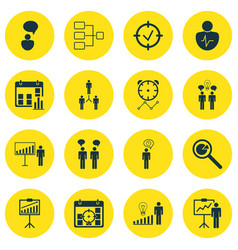 Set of 16 authority icons includes co-working vector