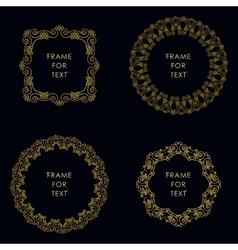 Set of four golden frame in outline style vector image