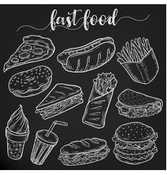 set of isolated sketches of fast or junk food vector image vector image