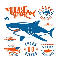 Shark dangerous emblems vector image vector image