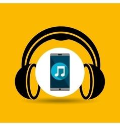 Smartphone music online headphones vector