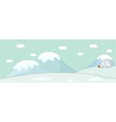 Snow igloo scene vector