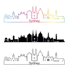 sydney v3 skyline linear style with rainbow vector image vector image