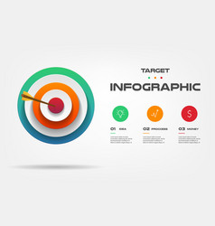 Target infographics step by step element of chart vector