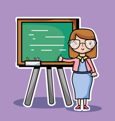 teacher woman with board to teach the students vector image