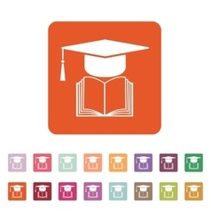 The graduation cap and book icon School and vector image