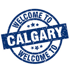 Welcome to calgary blue stamp vector