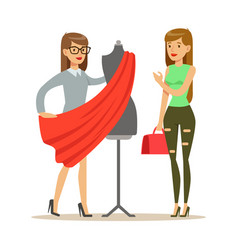 Woman and designer choosing fabric for dress vector