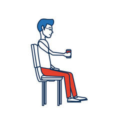 Young man employee sitting with coffee cup time vector