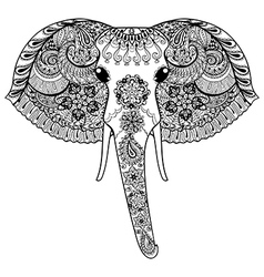Zentangle stylized Indian Elephant Hand Drawn vector image