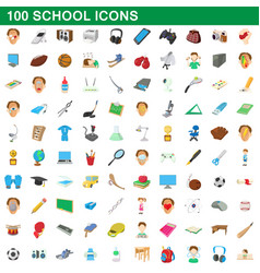 100 school set cartoon style vector