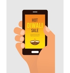 Hand holding mobile phone with diwali offer sale vector