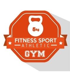 fitness sport athletic gym kettlebell orange badge vector image