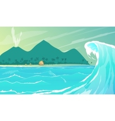 Seaside resort cartoon vector