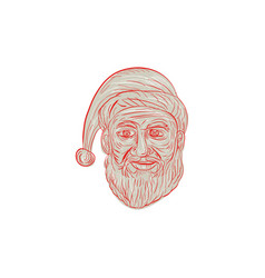 Melancholy santa claus head drawing vector
