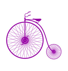 Silhouette of vintage bicycle in purple design vector