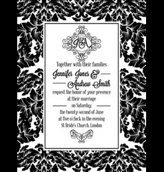 Damask victorian brocade pattern invitation vector