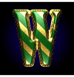 Golden and green letter w vector