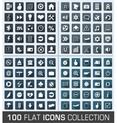 Set of 100 universal flat modern icons vector image