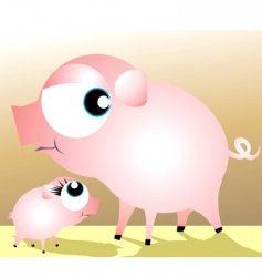 A mother pig and piglet vector