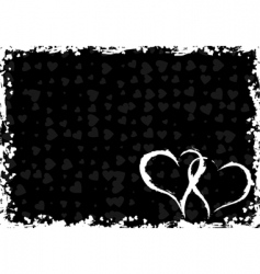 valentines grunge frame with hearts vector image