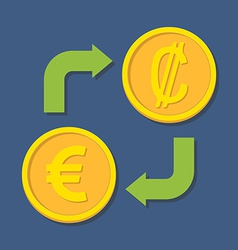 Currency exchange euro and colon vector