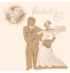 Wedding silhouette and flowers vector