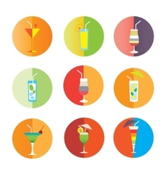 Alcohol drinks and coctails icon set vector